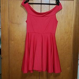 BOOHOO Off-the-Shoulder Skater Dress
